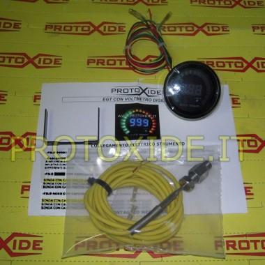 Sıcaklık Ölçer Voltmetre DigiLed egzoz ve 52mm Sıcaklık ölçerler