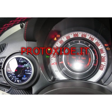Turbo pressure gauge installed on the Fiat 500 Abarth