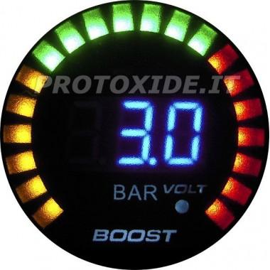 Turbo manometer en voltmeter DigiLed 52mm bereik -1 tot 3 bar Drukmeters Turbo, Benzine, Olie
