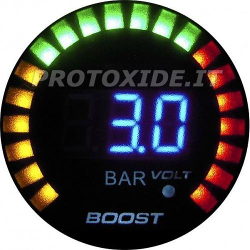 Manometro pressione turbo e Voltmetro DigiLed 52mm da -1 a +3 bar Manometri pressione Turbo, Benzina, Olio