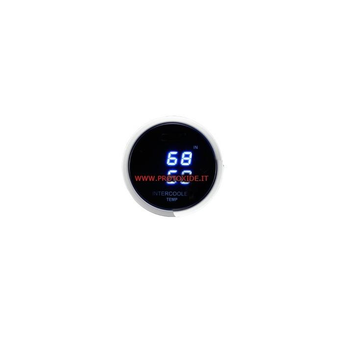 Medidor de temperatura del aire intercooler de doble pantalla de 52 mm Medidores de temperatura