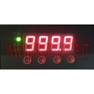 Medidor de temperatura de gases de escape rectangular con entrada para 4 termopares en una sola pantalla Medidores de tempera...