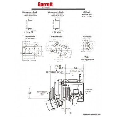 Boixes turbocompressor Garrett GT20 Turbocompressors sobre coixinets de carreres