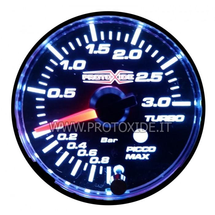 Manometro pressione turbo con picco memoria e allarme 52mm -1 a +3 bar