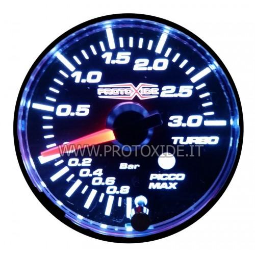 Manometro turbo con picco di pressione e memoria di allarme 52mm -1 a +3 bar Manometri pressione Turbo, Benzina, Olio
