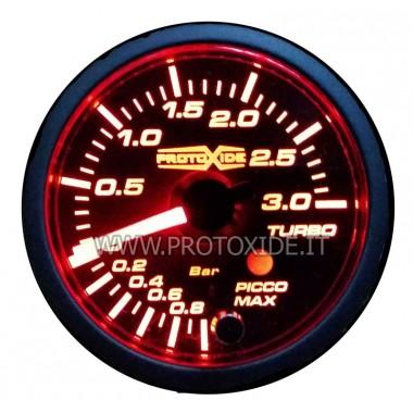 Turbo spiediena mērītājs ar atmiņu un trauksmes 52mm no -1 līdz +3 bar Spiediena mērinstrumenti Turbo, benzīns, eļļa