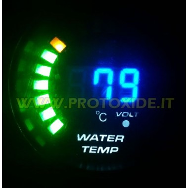 Vand temp gauge og voltmeter DigiLed 52mm Temperaturmålere