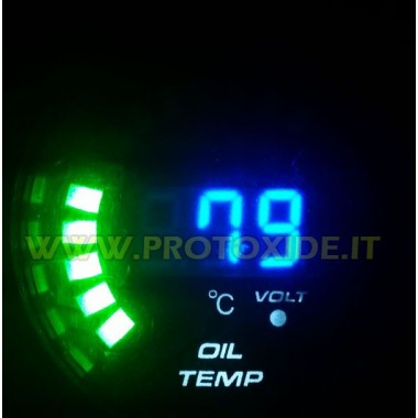 Olie temp gauge og voltmeter DigiLed 52mm 52mm Runde Instruments