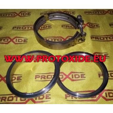 Kit fascetta collare vband con flange anelli V-band Inox 114mm per marmitta scarico con anelli maschio - femmina RT Fascette ...