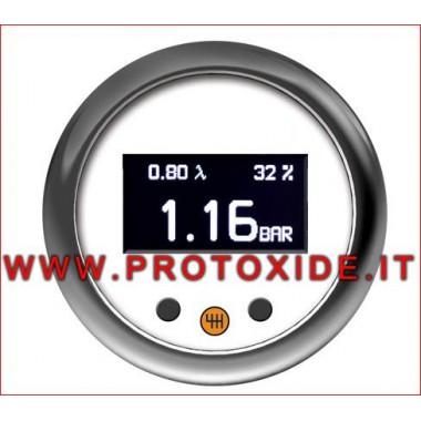 Turbo ciśnieniomierz z pamięcią i alarm 52mm od -1 do 3 bar