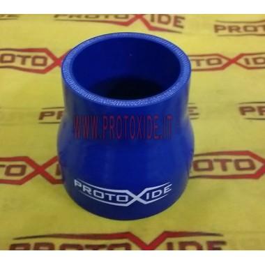 Tubo recto reducido en silicona azul 76-60 mm en el interior, 10 cm Fundas de silicona rectas reducidos