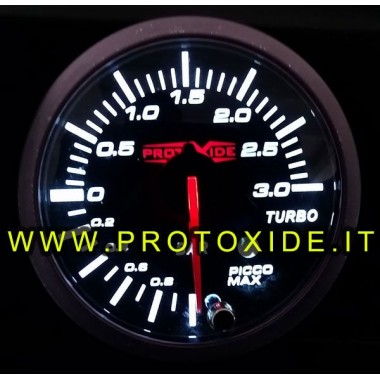Indicador de presión turbo -1 + 3 bar con memoria pico y alarma de 60 mm