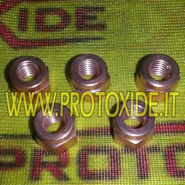 Nötter rödbrunt 10mm x 1,25 för samlare och turbiner 5 st Nötter, fångar och specialbultar