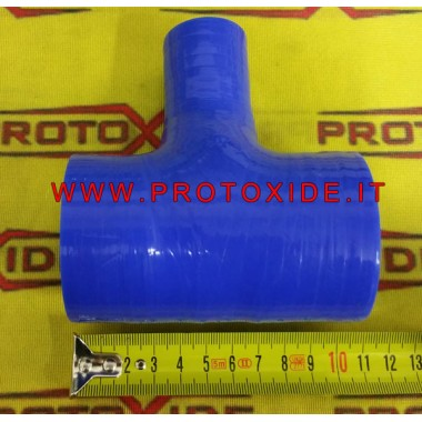 Funda de silicona azul con diámetro T de 60 mm. Mangas en T en silicona o acero inoxidable