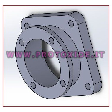 Adapter flange for increased throttle body in aluminum