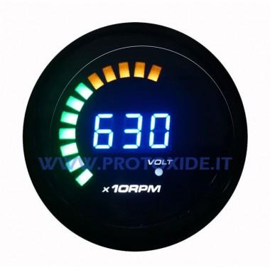 Tacômetro redondo Digly 52mm 9990 rotações Tacômetro do motor e luzes de mudança
