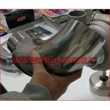 90 ° bøjning i stål til turbosugning 102-76mm kurver rustfrit stål