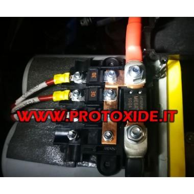 Bloco de distribuição com fusíveis para bateria positiva Conectores da unidade de controle e cabeamento da unidade de controle