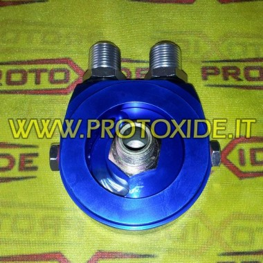 Adapter for installation of oil radiator specific Fiat-Alfa-Lancia 1000-1100 fire engines Supports oil filter and oil cooler ...