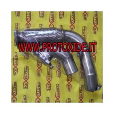 Downpipe di scarico maggiorato in acciaio con flessibile per Fiat Punto GT per turbocompressori TD04 3 fori Downpipe per moto...