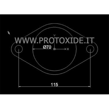 Brida oval d'escapament silenciador amb forat de 70 mm Flanges per Turbo, Downpipe i Wastegate
