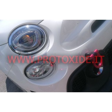 Tow hook anodized Alu specific for Fiat 500