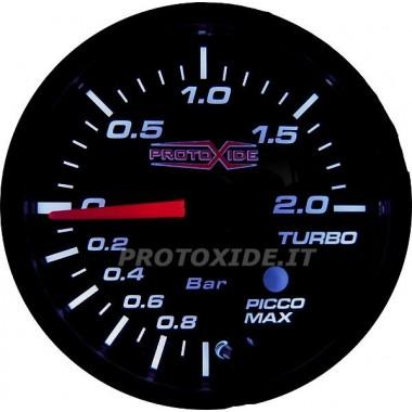 Přeplňovaný manometr -1 +2 bar s pamětí 52 mm a poplach Tlakoměry Turbo, Benzín, Olej