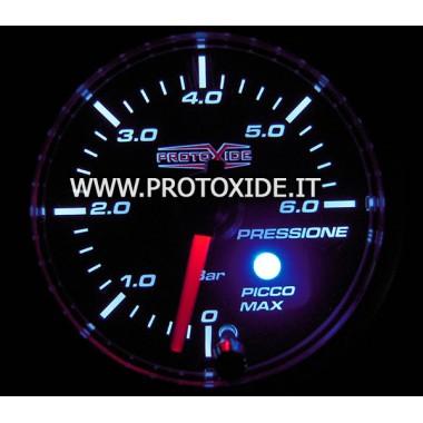 Manometer 2 in 1 brandstofdruk en Olie 52mm met piek-geheugen en 0-6 bar Drukmeters Turbo, Benzine, Olie