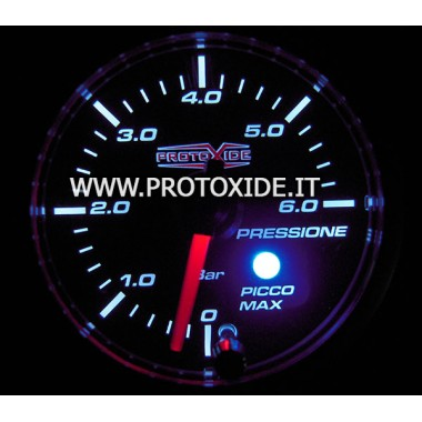 Manometro 2 in 1 pressione Benzina e Olio con memoria e picco 0-6bar 52mm Manometri pressione Turbo, Benzina, Olio