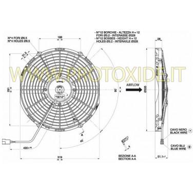 Ventilador aumentado para el radiador de agua Sierra Cosworth de 305 mm Ventiladores