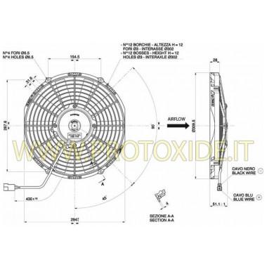 Povećani ventilator za vodeni radijator promjera 290 mm Obožavatelji