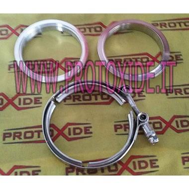 Kit de abrazadera de collar de banda en V con bridas de anillo de banda en V de 67 mm para silenciador con anillos macho - he...