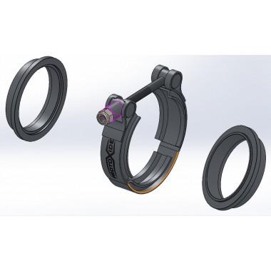 Vband-kauluskiinnityssarja 95 mm: n V-nauharenkaiden laipalla ET-uros - naarasrenkaiden äänenvaimentimelle Kiinnikkeet ja ren...