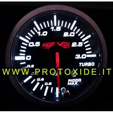 copy of Indicador de presión turbo -1 + 3 bar con memoria pico y alarma de 60 mm Manómetros Turbo, Gasolina, Aceite
