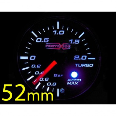 Manomètre turbocompressé -1 +2 bar avec mémoire 52mm et alarme Manomètres Turbo, Essence, Huile
