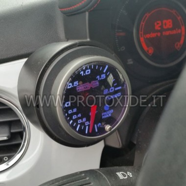 copy of Turbo manometer geïnstalleerd op de Fiat 500 Abarth Drukmeters Turbo, Benzine, Olie