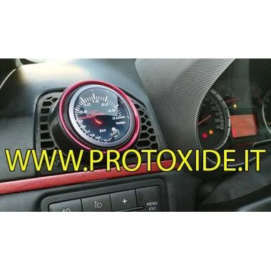 Boquilla de aire del soporte del manómetro Fiat GrandePunto con buje de orificio de 52 mm para manómetro de anillo rojo Porta...