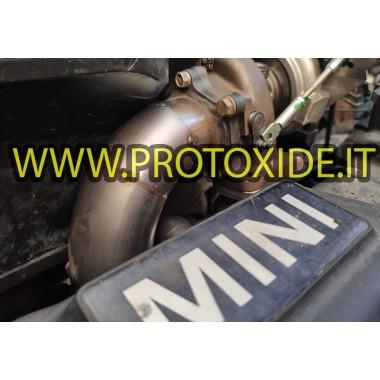 Bajante de escape del Mini Cooper R53 transformado en turbo con colector de escape alto ProtoXide Downpipe for gasoline engin...