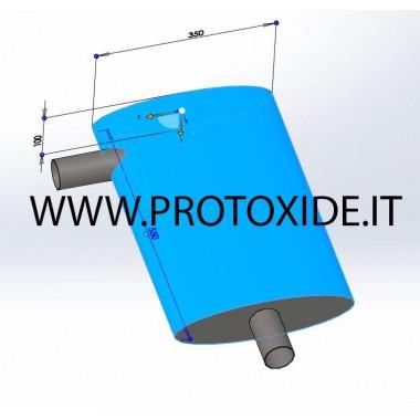 copy of ステンレス鋼のサイレンサーを測定するために作られた 排気マフラーとターミナル