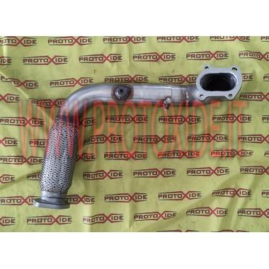 Übergroßes Stahlauspuffrohr mit flexiblem Fiat Punto GT Turbolader Mitsubishi TD04 Downpipe for gasoline engine turbo