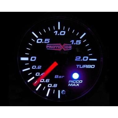 Turbo spiediena mērītājs ar trauksmes atmiņu un 60mm no -1 līdz +2 bar Spiediena mērinstrumenti Turbo, benzīns, eļļa