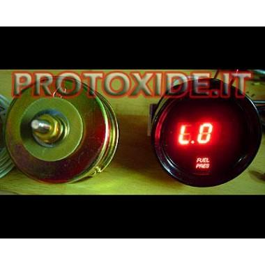 Medidor de pressão de combustível digital com sensor Manômetros de pressão Turbo, gasolina, óleo