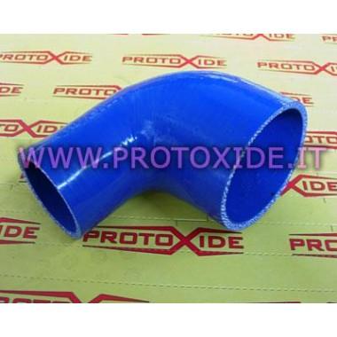 Silicona curva 90 ° reducida 76-60 mm Silicona pequeña curva reforzada