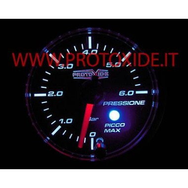 Petrol Oil Pressure Gauge 52mm with peak memory and 0-6 bar