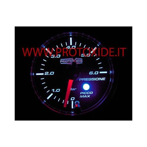 Manometro Pressione Benzina e Olio 52mm con memoria fino a 6 bar rotondo Manometri pressione Turbo, Benzina, Olio